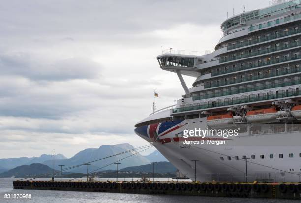Cruises ship Azura prepares to depart port on her seven day cruise from Southampton on August 15 2017 in Alesund Norway With over 3000 guests and...