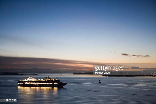 Cruiseship Dawn Princess in Hauraki Gulf at dawn.