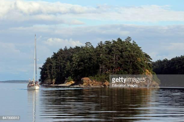 Cruising sailboat Sucia Island San Juan Islands Washington State USA Pacific Coast