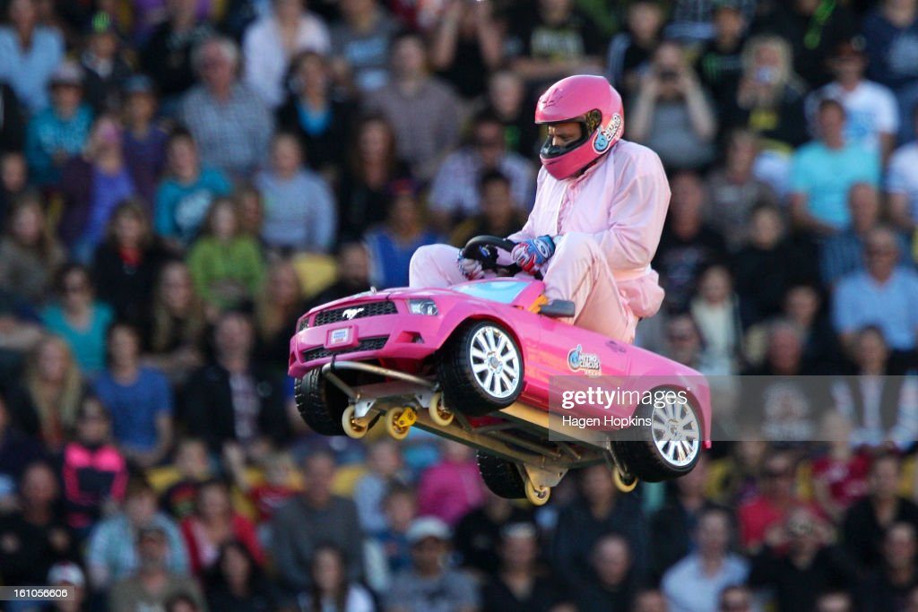 Crum performs a stunt in a toy car during Nitro Circus Live at Westpac Stadium on February 9, 2013 in Wellington, New Zealand.