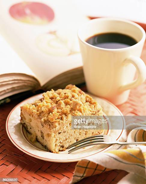 Crumb cake with cup of coffee