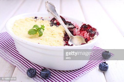 crumble with blueberry, bilberry : Stock Photo
