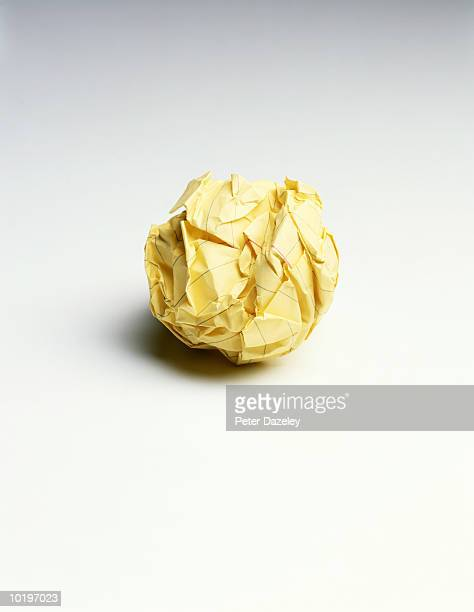 Crumpled ball of notepaper, close-up