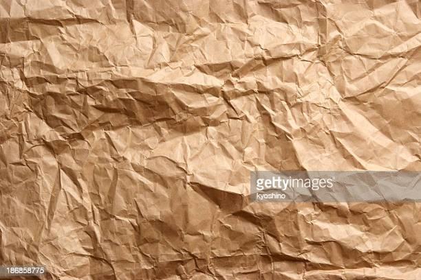 ブラウンのしわ紙テクスチャ背景