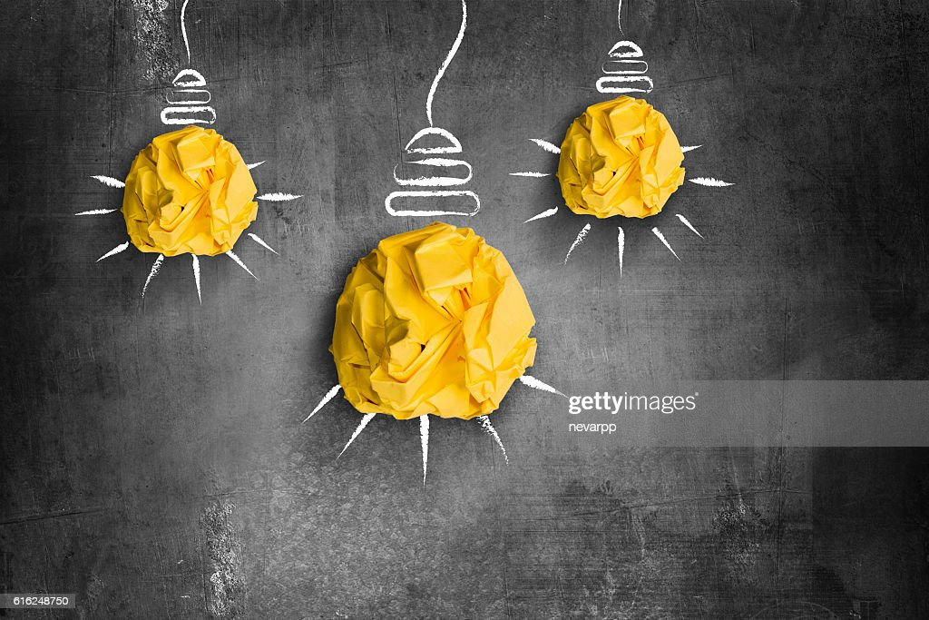crumpled paper light bulbs idea or innovation concept : Stock Photo