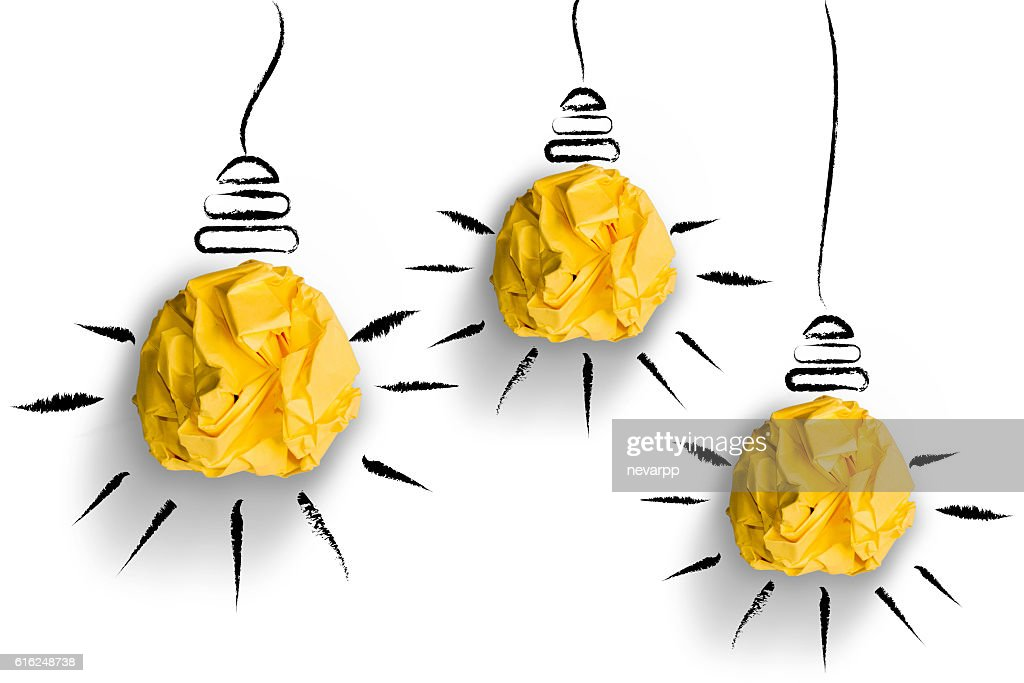 crumpled paper light bulbs shapes on white background : Stock Photo
