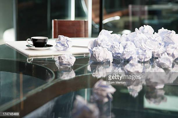 Crumpled papers on a table