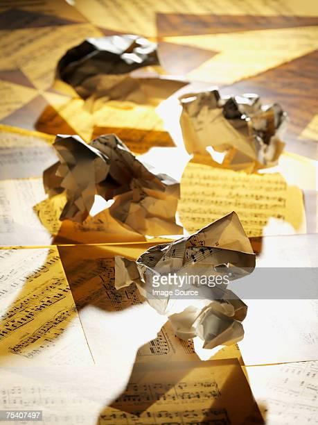 Crumpled sheet music