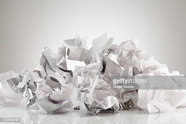 Crumpled sheets of paper