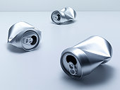 Crumpled soda cans