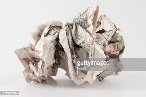 Crumpled wad of paper for trash