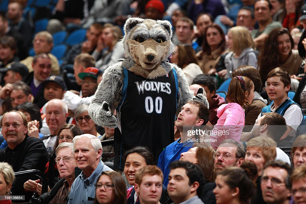 Crunch the mascot of the Minnesota Timberwolves mingles with the fans during the game against the Portland Trail Blazers on January 5, 2013 at Target Center in Minneapolis, Minnesota.