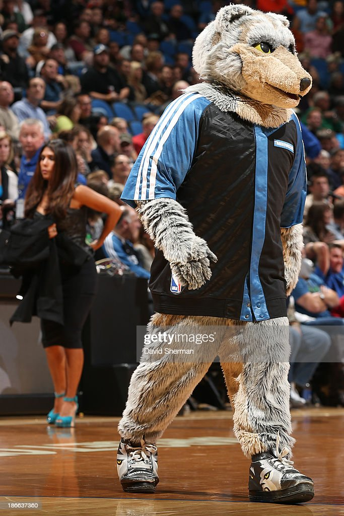 Crunch the Wolf, mascot of the Minnesota Timberwolves walks out before the game against the Oklahoma City Thunder on November 1, 2013 at Target Center in Minneapolis, Minnesota.