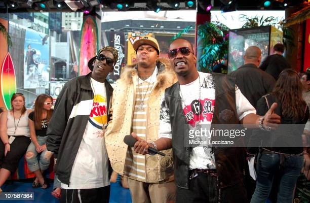 Crunchy Black DJ Paul and Juicy J during Three 6 Mafia Visits MTV's 'TRL' March 22 2006 at MTV Studios Times Square in New York City New York United...