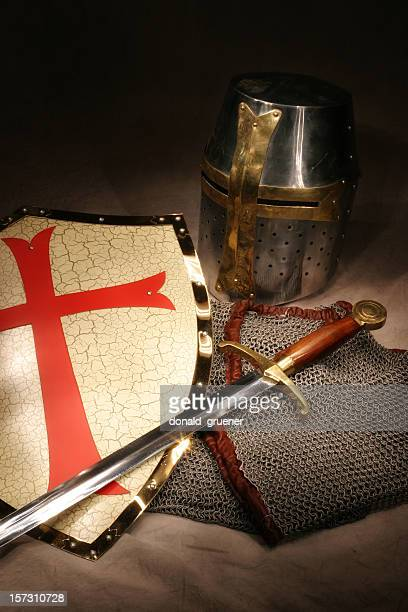 Crusader Knight's Shield, Sword, Helmet, and Chain Mail Armor