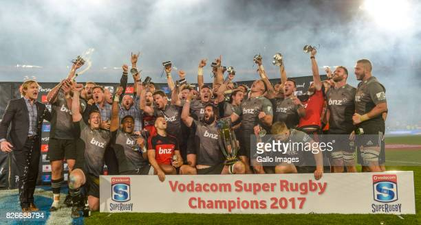 Crusaders are crowned the 2017 Super Rugby champions during the Super Rugby Final match between Emirates Lions and Crusaders at Emirates Airline Park...