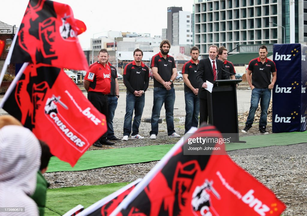 Crusaders CEO Hamish Riach speaks during a media announcement that BNZ will be naming rights sponsor of the Crusaders on July 19, 2013 in Christchurch, New Zealand.