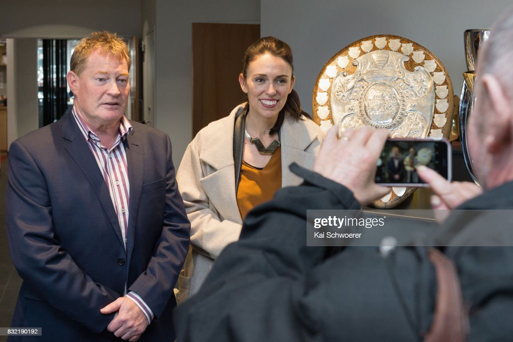 Crusaders Chairman Grant Jarrold and Labour Leader Jacinda Ardern pose with the Ranfurly Shield at Canterbury Rugby on August 16, 2017 in Christchurch, New Zealand. The Labour party has pledged $10 million towards mental health support for children in Canterbury and Kaikoura to help overcome the trauma of earthquakes, with plans to fund an extra 80 mental health professionals over the next three years who will work in all public primary and intermediate schools.