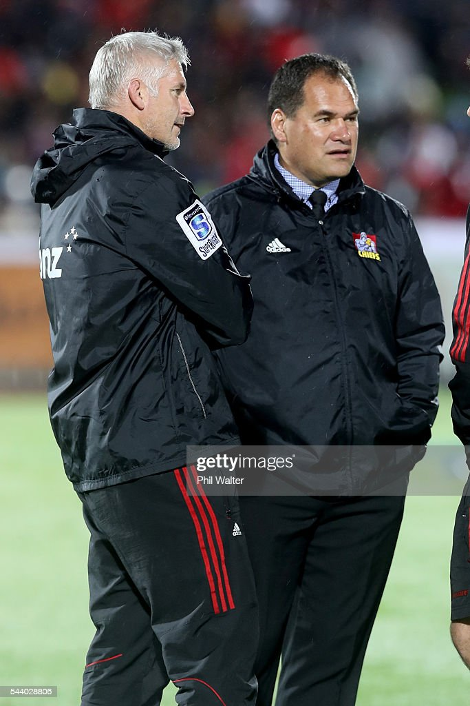 Crusaders coach Todd Blackadder (L) and Chiefs coach Dave Rennie (R) before the round 15 Super Rugby match between the Chiefs and the Crusaders at ANZ Stadium on July 1, 2016 in Suva, Fiji.