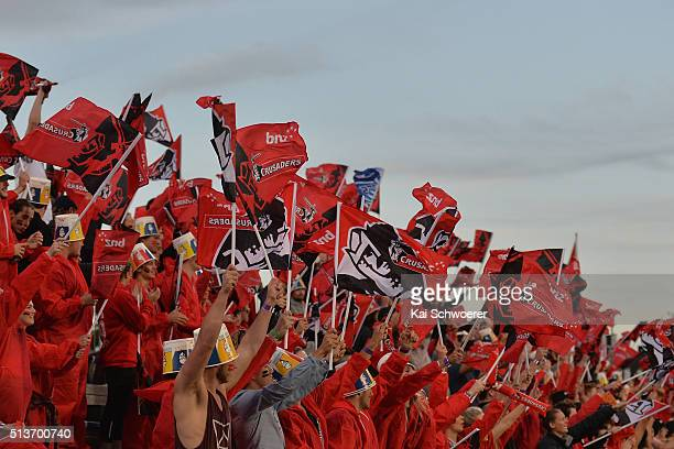 Crusaders fans show their support during the round two Super Rugby match between the Crusaders and the Blues at AMI Stadium on March 4 2016 in...
