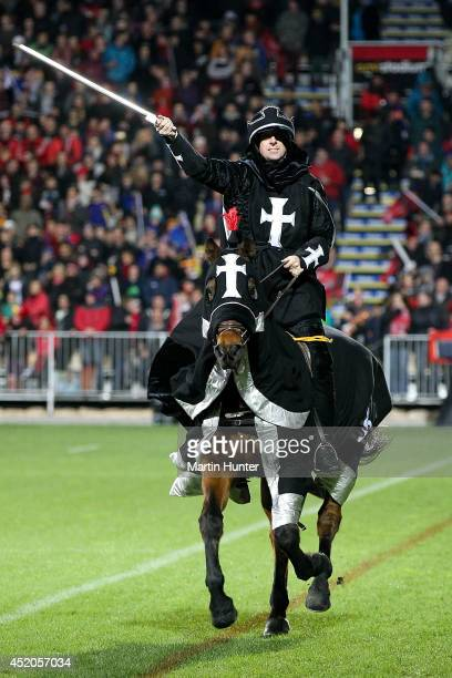 Crusaders horseman prior to the start of the round 19 Super Rugby match between the Crusaders and the Highlanders at AMI Stadium on July 12 2014 in...