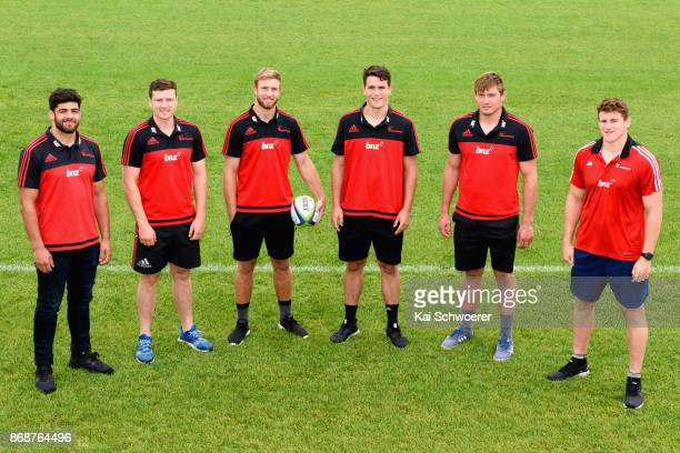 Crusaders new signings Billy Harmon Jack Stratton Braydon Ennor Will Jordan Ethan Blackadder and Tom Sanders pose during the Crusaders 2018 Squad...