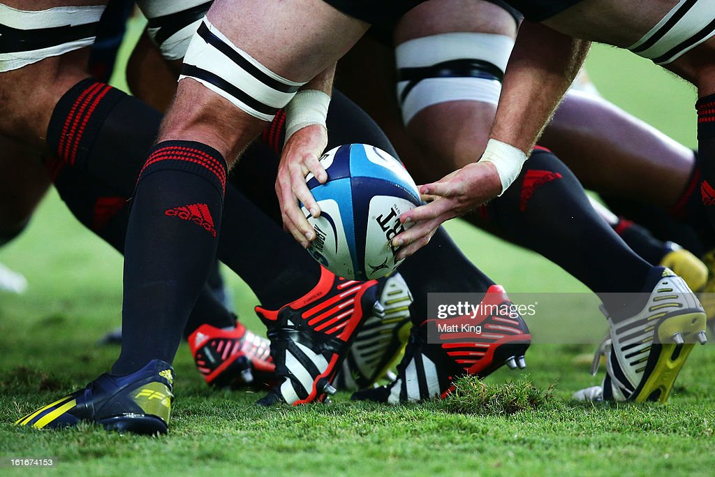 A Crusaders player clears the ball from the ruck during the Super Rugby trial match between the Waratahs and the Crusaders at Allianz Stadium on February 14, 2013 in Sydney, Australia.