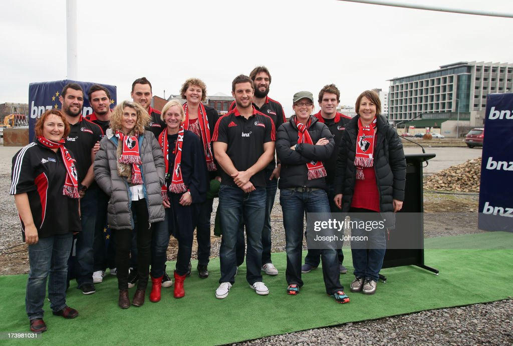 Crusaders players pose for photos with fans after a media announcement that BNZ will be naming rights sponsor of the Crusaders on July 19, 2013 in Christchurch, New Zealand.