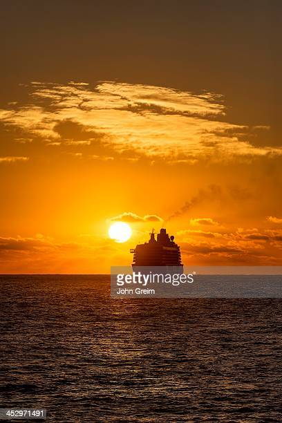 Cruse ship sails into the sunset