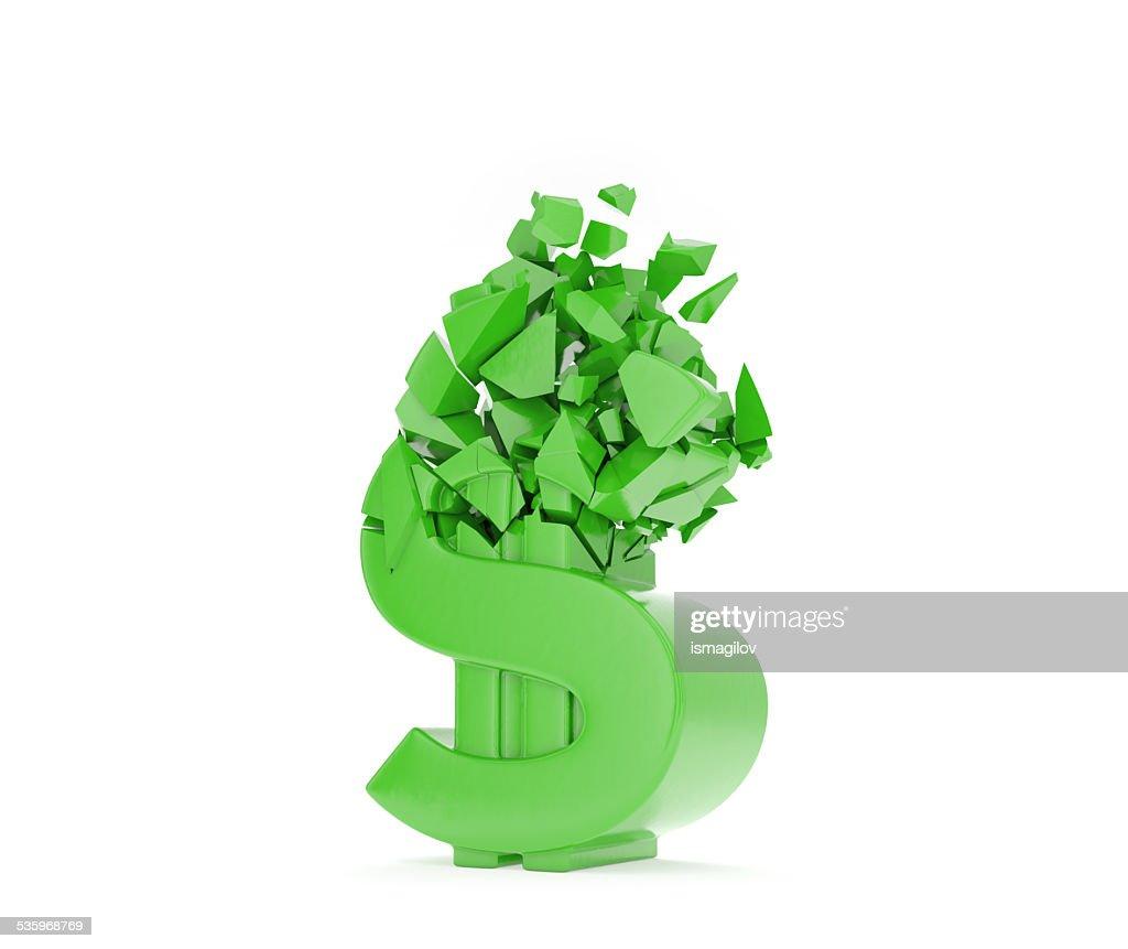 crush dollar symbol : Stock Photo