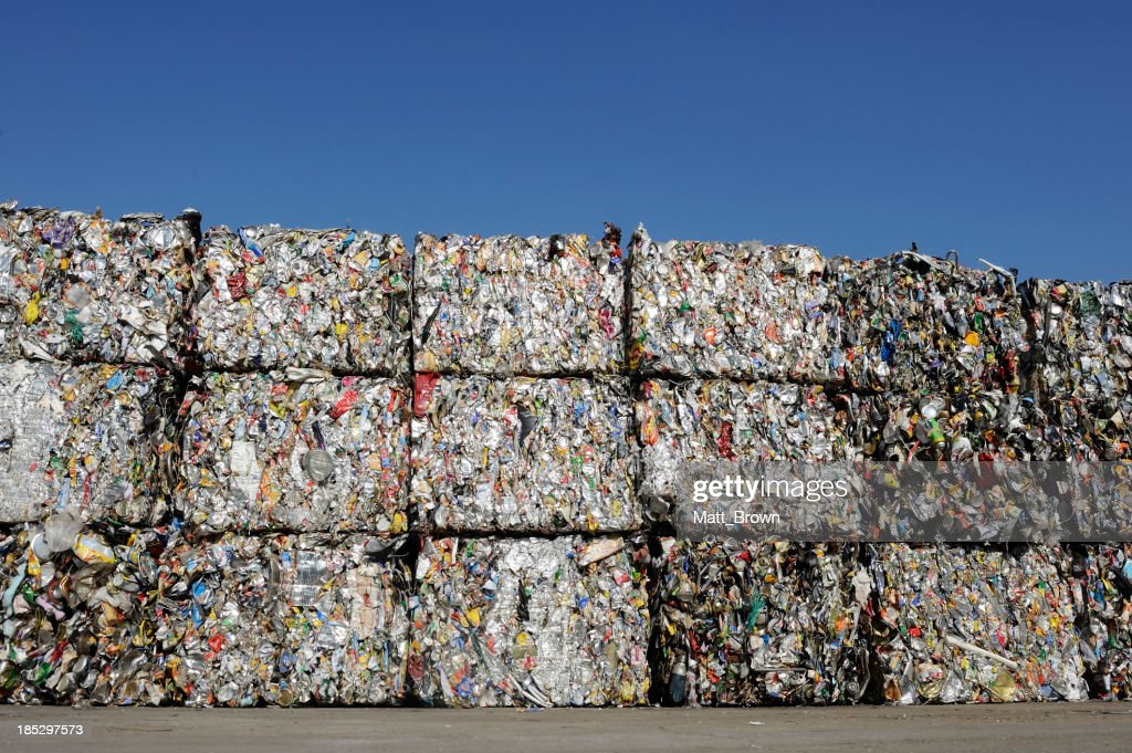 Crushed baled metal for recycling : Stock Photo