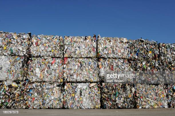 Crushed baled metal for recycling