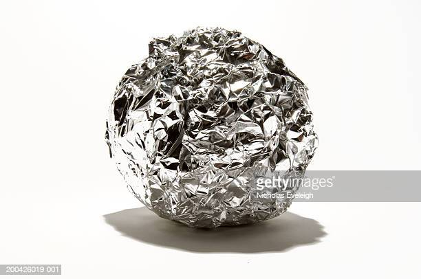 Crushed ball of aluminum foil
