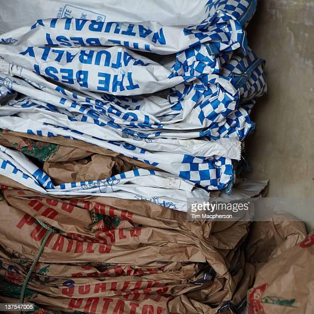 Crushed potato sacks
