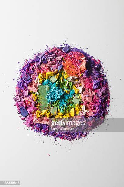 Crushed various make-up powders arranged into a circle
