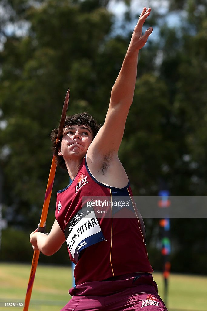 Crusoe Flynn-Pittar of Queensland competes in the men's u16 javelin throw during day five of the Australian Junior Championships at the WA Athletics Stadium on March 16, 2013 in Perth, Australia.