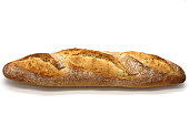 Crusty baguette on white isolated background
