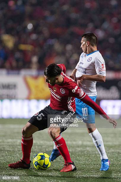 Cruz Azul's forward Christian Gimenez vies for the ball with Tijuana's midfielder Guido Rodriguez during their Mexican Clausura Tournament football...