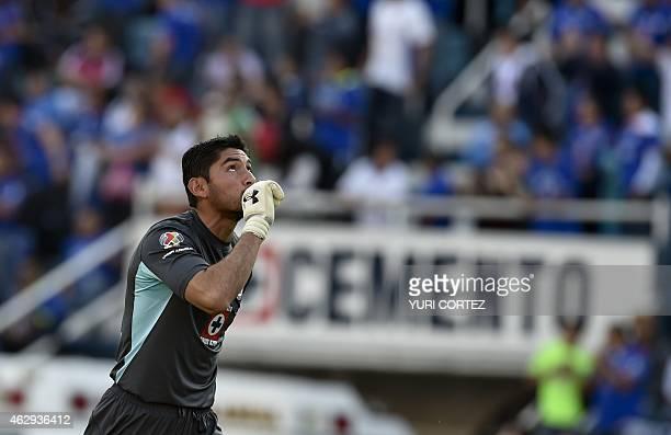 Cruz Azul's goalkeeper Jesus Corona celebrates after his teammate Christian Gimenez scored against Monterrey during their Clausura tournament...