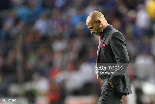 Cruz Azul's Spanish coach Francisco 'Paco' Jemez is pictured during the Mexican Apertura football tournament match against America at the Azul...