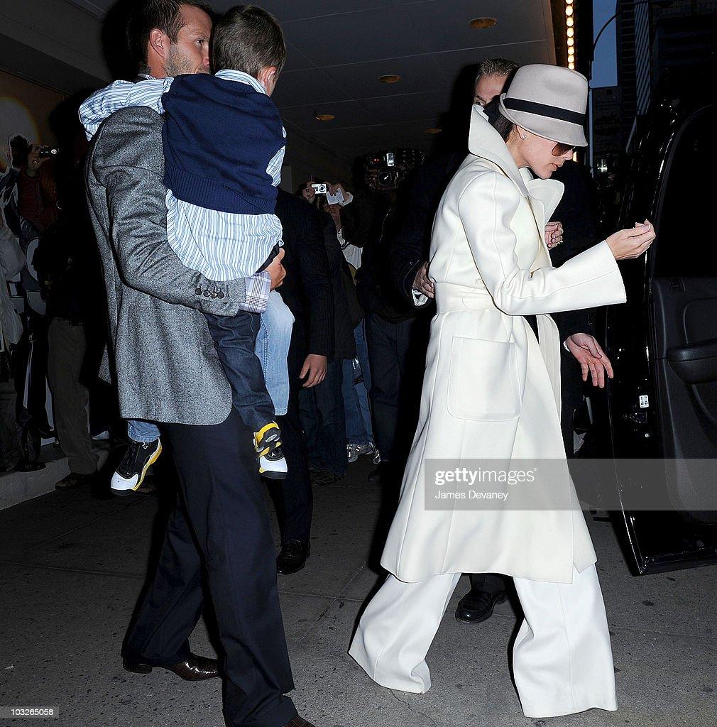Cruz Beckham, David Beckham and Victoria Beckham leave 'Jersey Boys' play on Broadway on November 28, 2008 in New York City.