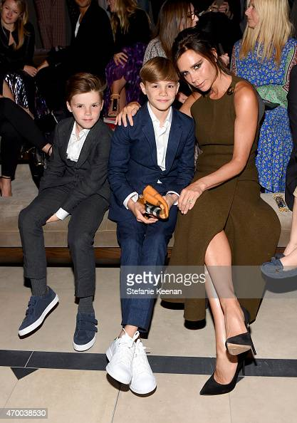 Cruz Beckham Romeo Beckham and Victoria Beckham attend the Burberry 'London in Los Angeles' event at Griffith Observatory on April 16 2015 in Los...