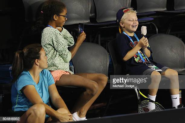 Cruz Hewitt son of Lleyton Hewitt of Australia poses with an icecream during a practice session ahead of the 2016 Australian Open at Melbourne Park...