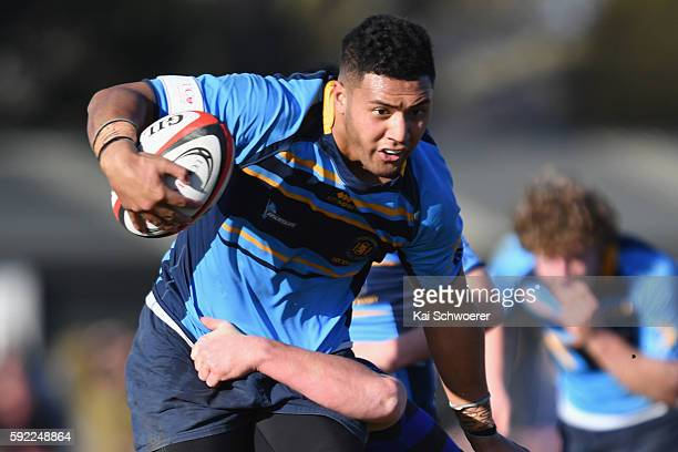 Cruz TopaiAveai of Shirley is tackled during the Crusaders Secondary Schools UC Championship Final match between Christchurch Boys High and Shirley...