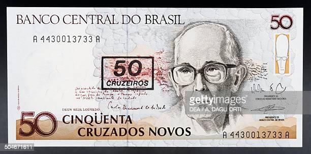 50 cruzados novos banknote 19901999 obverse Carlos Drummond de Andrade Brazil 20th century