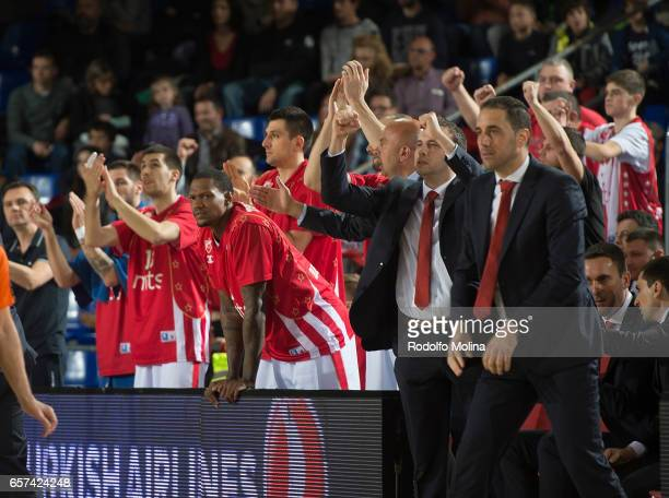 Crvena Zvezda mts Belgrade bench players celebrates during the 2016/2017 Turkish Airlines EuroLeague Regular Season Round 28 game between FC...