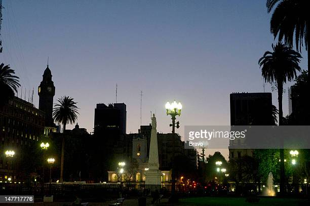 PLATES 'Cry for Me Argentina' Episode 109 Pictured The Piramide de Mayo at night in the Plaza de Mayo in Buenos Aires Argentina in 2011