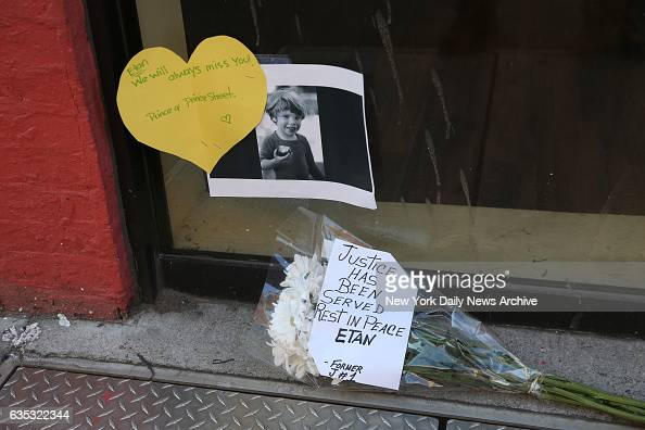 A crying woman left a heartfelt message shaped like a heart outside the store where a deli once stood where Etan Patz was last seen alive in 1979 on...