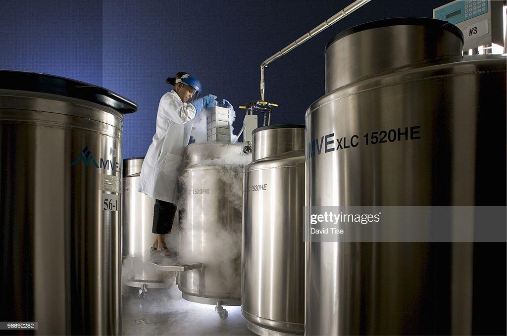 Cryogenic Storage Room and Technician
