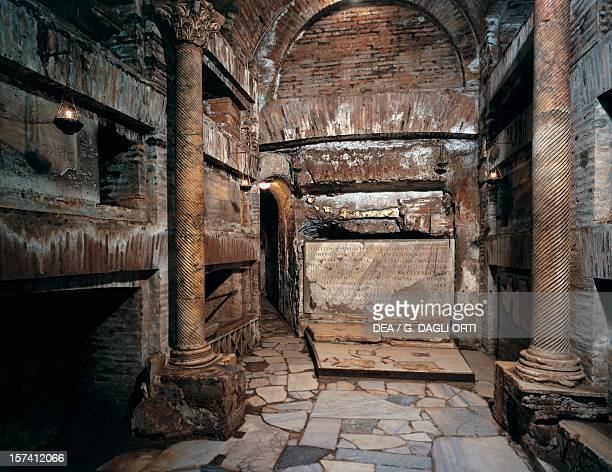 Crypt of the Popes Catacombs of St Callixtus Rome Italy 3rd century